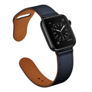 NEW NAVY Genuine Leather Band For Apple Watch